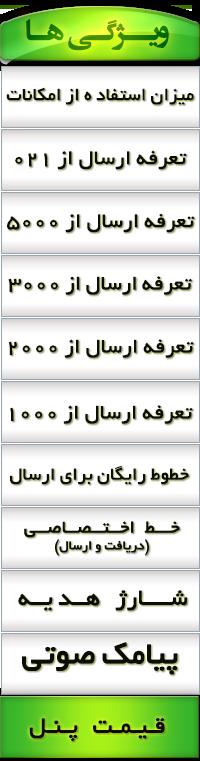 ویژگی پنل های کاربری گروس پیامک